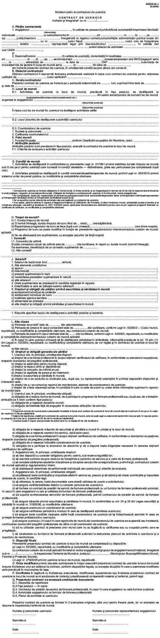 Model Cadru Contract de